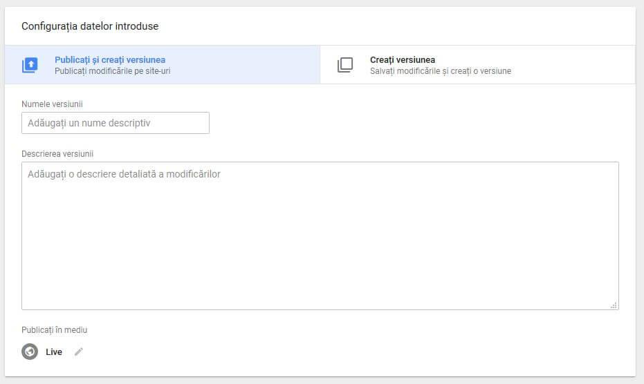 publica versiune tag manager