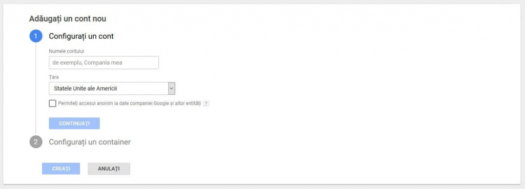 setare website tag manager