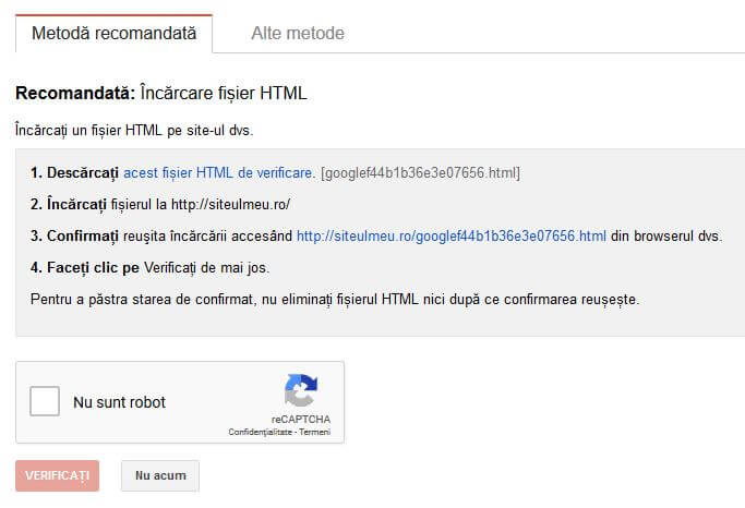 verificare search console