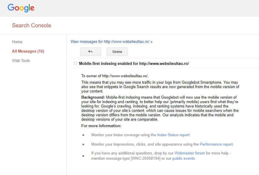 mesaj indexare mobila search console