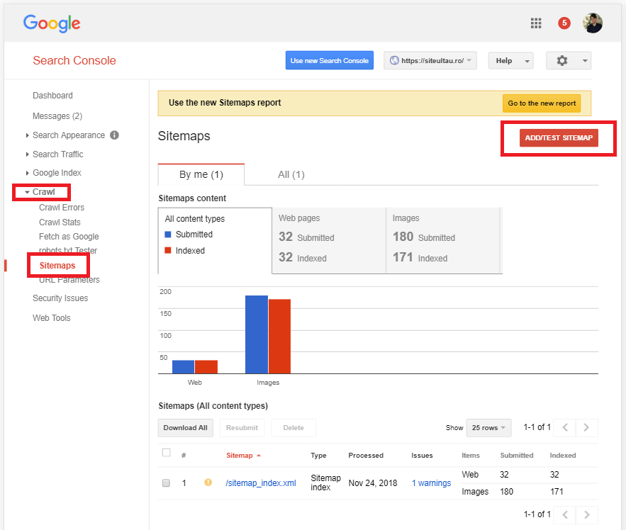 adaugare sitemap search console vechi