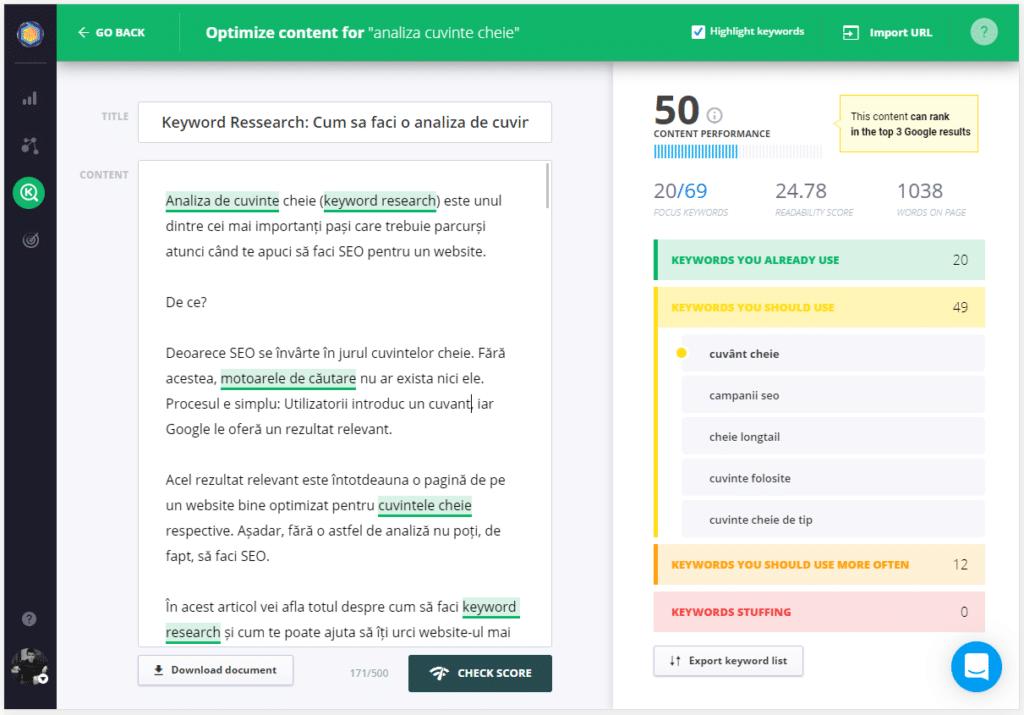 Optimizarea paginii CognitiveSEO Tool